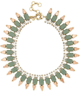 J.Crew Ruffled gold-tone, resin and Czech crystal necklace