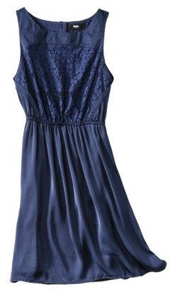 Mossimo Women's Satin Sleeveless Lace Bodice Dress - Assorted Colors