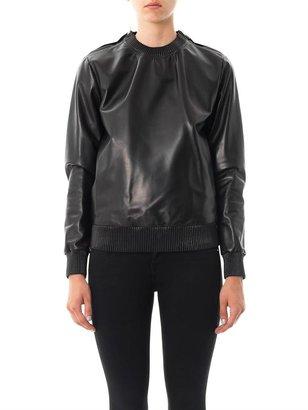 Givenchy Zipped shoulder leather sweatshirt