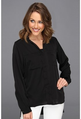 Kenneth Cole New York - Jordonna Collared L/S Button Up Blouse (Black) - Apparel