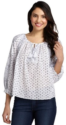 Rebecca Taylor white cotton 'Bell Flower' long sleeve peasant blouse