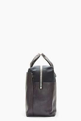 Lanvin Dark grey leather and textile duffle