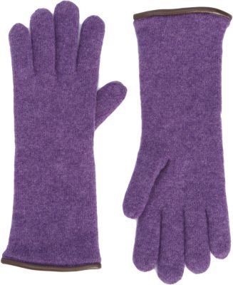 Barneys New York Leather Piped Knit Gloves