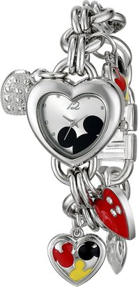 Disney Women's MK2058 Mickey Mouse Silver-Tone Sunray-Dial Charm Bracelet Watch