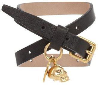 Alexander McQueen Platinum Leather Double Wrap Skull Bracelet