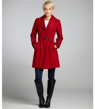 Via Spiga red wool blend 'Dora' belted coat