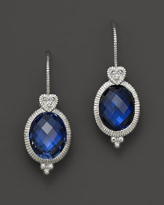 Judith Ripka Sterling Silver Oval Stone Earring with Heart on Wire in Lab-Created Blue Corundum