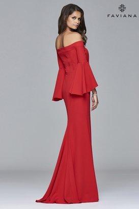Faviana - s8002 Long off-the-shoulder crepe dress $338 thestylecure.com