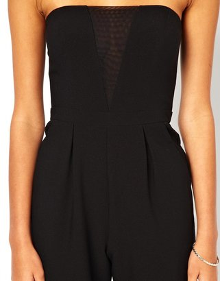 Asos Exclusive Strapless Jumpsuit with Sheer Insert Detail