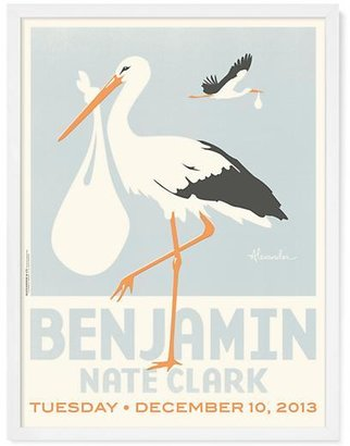 Baby Essentials Stork Delivery Personalized Wall Art (Blue with White Frame)