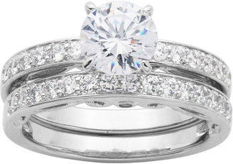 jcpenney fine jewelry diamonart cubic zirconia sterling silver bridal ring set - Jcpenney Wedding Ring Sets