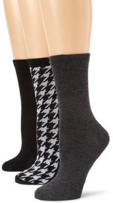 Anne Klein Women's 3-Pair Pack Houndstooth Crew Socks