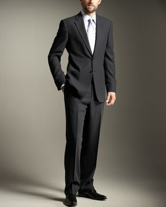 Armani Collezioni Two-Button Wool Crepe Suit, Navy