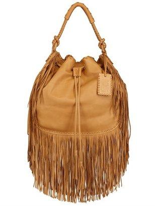 Ralph Lauren Multi Fringes Grained Leather Hobo Bag