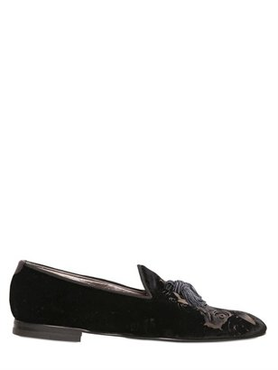 Max Verre 20mm Printed Velvet Loafers