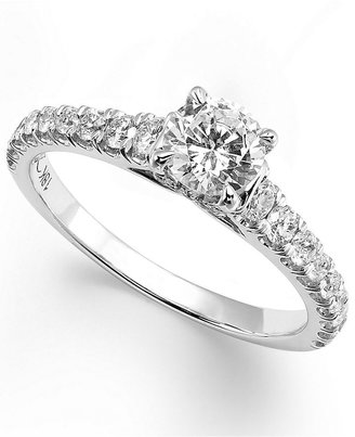 X3 Diamond Ring, 18k White Gold Certified Diamond Pave Solitaire Ring (1 ct. t.w.)