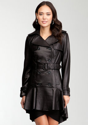 Bebe Hi-Lo Leather Trench Coat