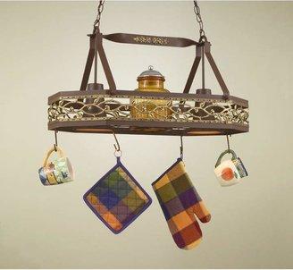 Hi-Lite Napa Hanging Pot Rack with 2 Lights Accent