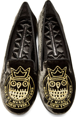 Marc by Marc Jacobs Grey Velvet Embroidered Friends Of Mine Loafer