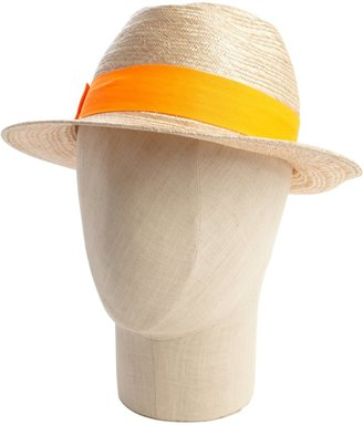 Hat Attack Khaki Straw And Neon Orange Banded Fedora