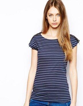 Warehouse Stripe Faux Leather Zip Shoulder T-Shirt