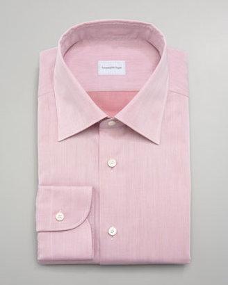 Ermenegildo Zegna Washed Herringbone Dress Shirt
