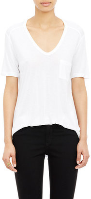 Alexander Wang Women's Single-Pocket V-Neck T-Shirt-WHITE