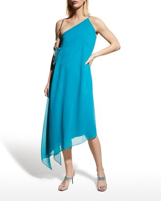 Halston Blair One-Shoulder Chiffon Dress