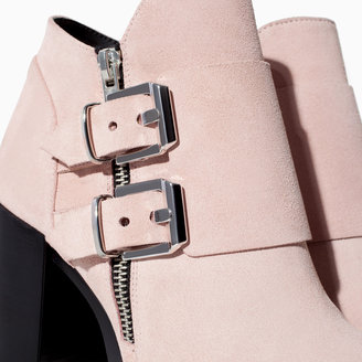 Zara Suede Leather Wide Heel Ankle Boot