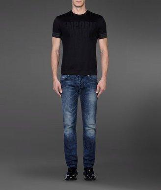 Emporio Armani Crew Neck Cotton T-Shirt With Lettering