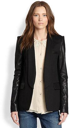 Alice + Olivia Hartley Leather-Sleeve Blazer