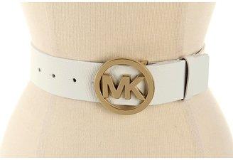 MICHAEL Michael Kors Michael Kors 42MM MK Logo Buckle On Pebbled Panel (White) - Apparel
