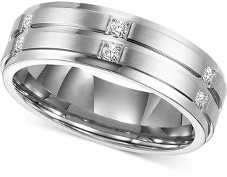 Triton Men Diamond Wedding Band Ring in Stainless Steel (1/6 ct. t.w.)