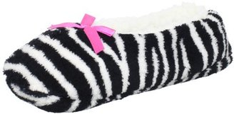 Jacques Moret Women's Zebra Print Fuzzy Babba Slipper Socks
