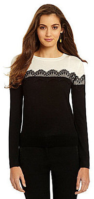 Vince Camuto Lace-Trim Colorblocked Sweater