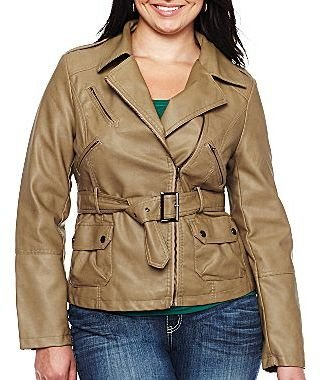 JCPenney Faux Leather Belted Jacket - Plus
