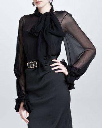 Oscar de la Renta Silk Ruffle-Cuff Blouse, Black