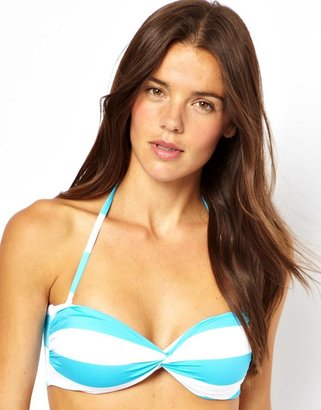 Asos Mix and Match Stripe Twist Bandeau Bikini Top with Tie Back