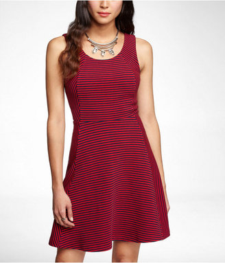 Express Small Stripe Seamed Fit And Flare Dress