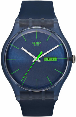 Swatch Watch, Unisex Swiss Blue Rebel Blue Silicone Strap 41mm SUON700 $70 thestylecure.com