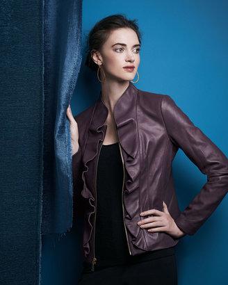 Elie Tahari Kendrick Ruffle-Front Leather Jacket