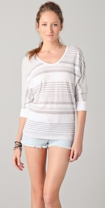 C&C California Desert Stripe 3/4 Sleeve Tie-Back Dolman Tee