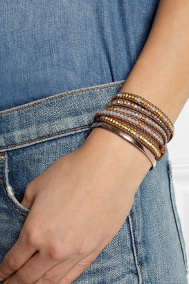 Chan Luu Gold-plated, jade and leather five wrap bracelet