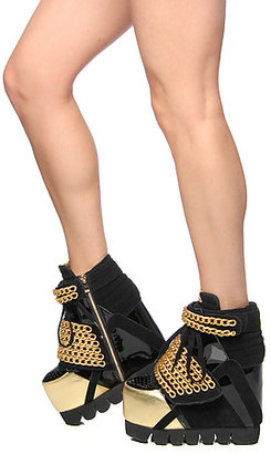 Jeffrey Campbell The Enough Shoe in Black and Gold Chain