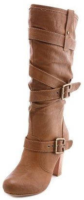 Charlotte Russe Slouchy Double Buckle Heel Boot