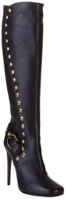 Roberto Cavalli Black leather stud knee high boots