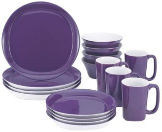 Rachael Ray Round and Square 16-Piece Dinnerware Set in Purple