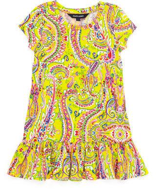 Ralph Lauren Paisley-Print Short-Sleeve T-Shirt Dress, Yellow, 2-3T