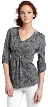 Calvin Klein Jeans Women's Petite Printed Smocked Henley Shirt