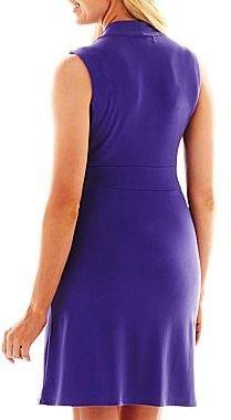 Liz Claiborne Print V-Neck Dress - Petite